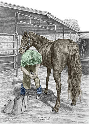 Drawing - Trim And Fit - Farrier And Horse Print Color Tinted by Kelli Swan