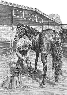Drawing - Trim And Fit - Farrier With Horse Art Print by Kelli Swan