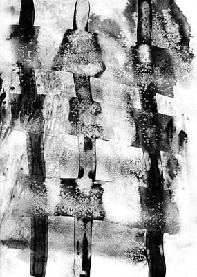 Black Ink Lines Painting - Trinity by Hakon Soreide