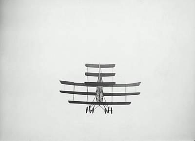 Triplane Photograph - Triplane Flying, Rear, Low Angle View (b&w) by Fpg