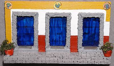 Painting - Triple Mexican Blue Doors by Robert Handler