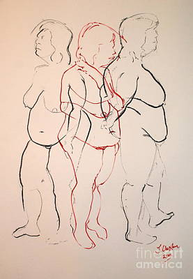 Drawing - Tripple Standing Nude by Joanne Claxton