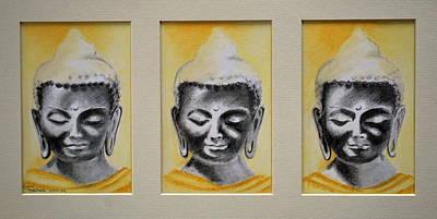 Drawing - Triptych Buddha by Lynn Hughes