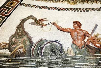 Triton And A Sea Creature, Roman Mosaic Art Print by Sheila Terry