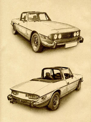 Classic Cars Digital Art - Triumph Stag by Michael Tompsett