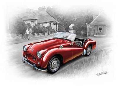 Tr Painting - Triumph Tr-2 Sports Car In Red by David Kyte