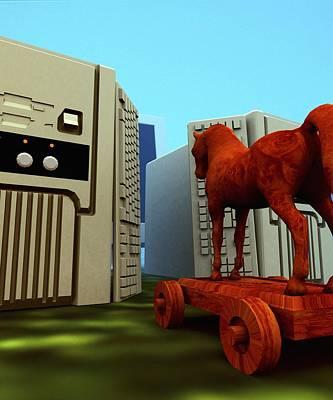 Trojan Horse, Computer Artwork Art Print by Christian Darkin
