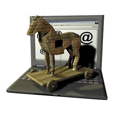 Trojan Horse, Computer Artwork Art Print by Friedrich Saurer