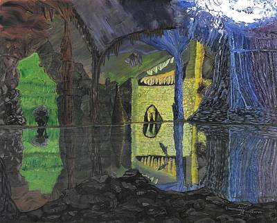 Childrens Story Book Painting - Troll Cave by Lori  Theim-Busch