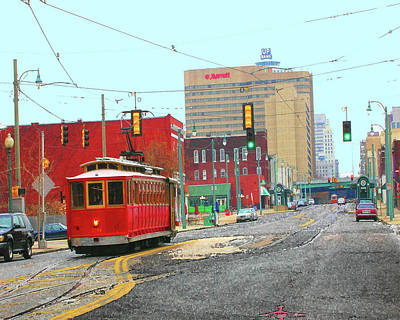 Digital Art - Trolley North Main Street by Lizi Beard-Ward