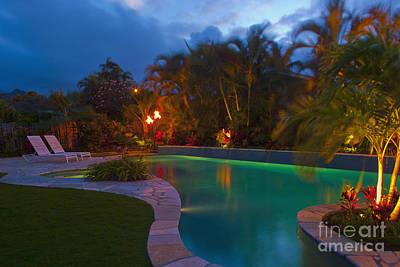 Tropical Backyard Pool At Night Art Print by Inti St. Clair