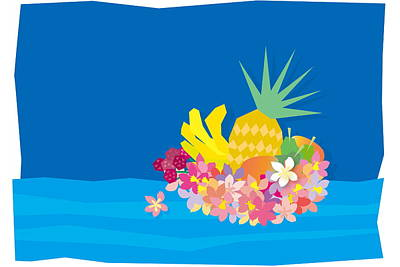 Mango Digital Art - Tropical Flowers With Fruits On Waves by Meg Takamura