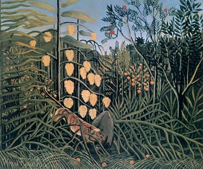 'tropical Forest' By Henri Rousseau Art Print