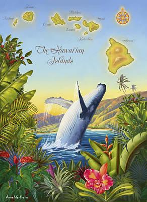 Tropical Hawaiian Island Map Art Print by Anne Wertheim