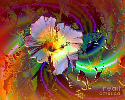 Tropical Hibiscus Explosion Art Print by Doris Wood
