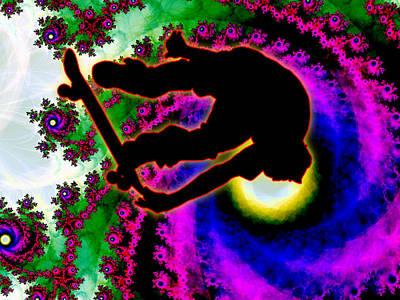 Tropical Hurricane Eye With Skateboarder Art Print