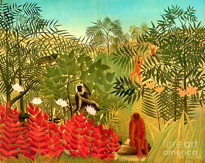 Tropical Jungle By Henri Rousseau Print by Pg Reproductions