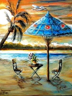 Art Print featuring the painting Tropical Sunset by Bernadette Krupa