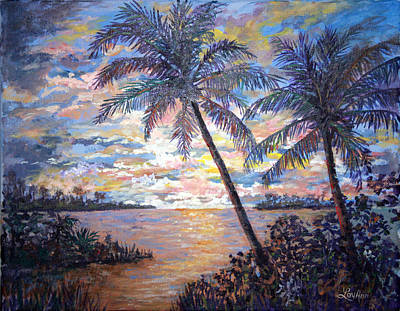 Art Print featuring the painting Tropical Sunset by Lou Ann Bagnall