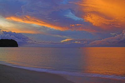 Photograph - Tropical Sunset- St Lucia by Chester Williams