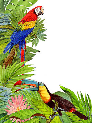 Flora And Fauna Painting - Tropical Tete A Tete by Shawn Shea