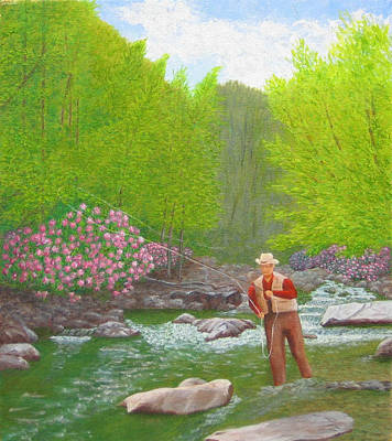 Fisherman In Stream Painting - Trout And Rhododendrons by Jim Hefley