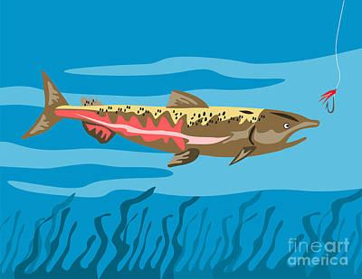 Trout Fish Retro Print by Aloysius Patrimonio