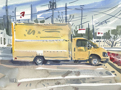 Roadside Painting - Truck Rental by Donald Maier