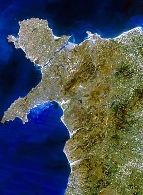 True Colour Satellite Image Of Northwest Wales Art Print