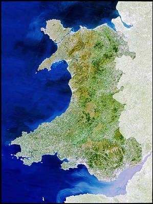 True Colour Satellite Image Of Wales Art Print