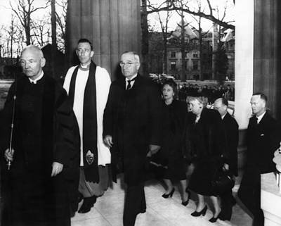 Barkley Photograph - Truman Presidency. From Left Cathedral by Everett