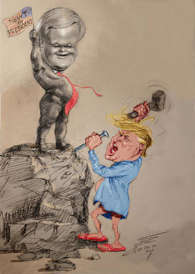 Amphibians Wall Art - Drawing - Trump Shaping Up The Future by Ylli Haruni