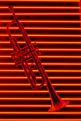 Trumpet And Red Neon Art Print by Garry Gay