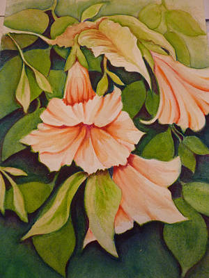Painting - Trumpet Flowers by Carla Parris