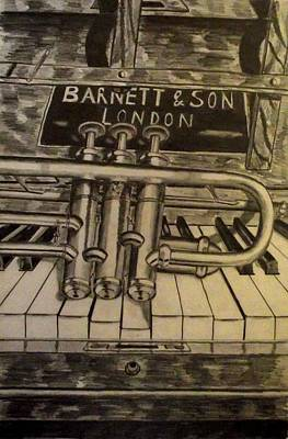 Jazz Drawing - Trumpet On Piano by John  Nolan