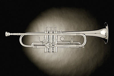Photograph - Trumpet On Spotlight B And W by M K Miller