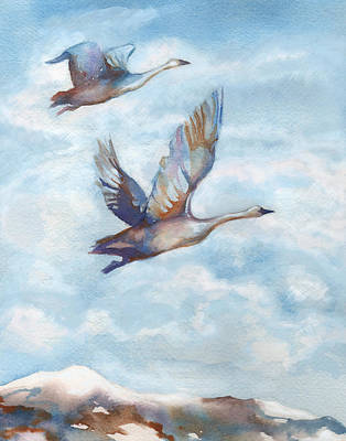 Migrating Painting - Trumpeter Swans by Peggy Wilson