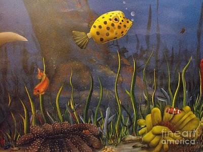 Trunkfish Wall Art - Painting - Trunkfish And Anemone Fish by Sandy  Hurst