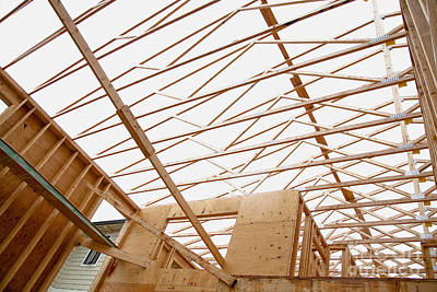 Trusses In Home Under Construction Art Print