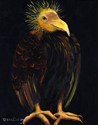 Buzzard Painting - Trying To Be Patient by Debbie McCulley