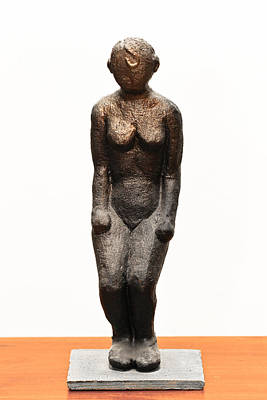 Sculpture - Tsalmit Following An Ancient Knanite Woman Figure Naked In Partial Bow by Rachel Hershkovitz