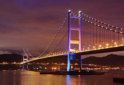 Hong Kong Photograph - Tsing Ma Bridge At Night by Leung Cho Pan