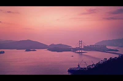 Hong Kong Photograph - Tsing Ma Bridge In Hong Kong At Dusk by Yiu Yu Hoi