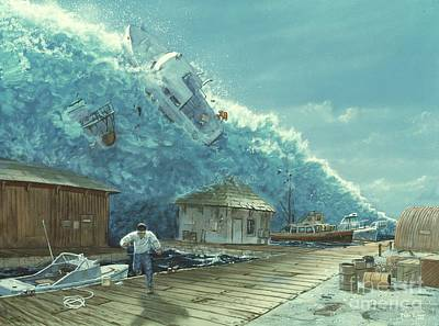 Drawing - Tsunami by Chris Butler and Photo Researchers