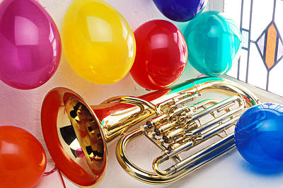 Tuba Wall Art - Photograph - Tuba In Window With Ballons by Garry Gay