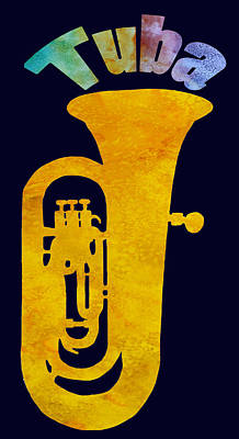 Golden Digital Art - Tuba by Jenny Armitage
