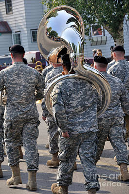 Marching Band Photograph - Tuba Player In A Army Marching Band by Gary Whitton
