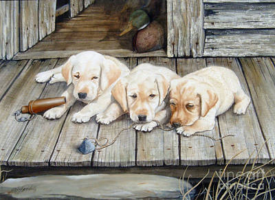Painting - Tuckered Out Trio  Sold  Prints Available by Sandy Brindle