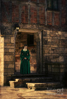 Tudor Lady In Doorway Art Print by Jill Battaglia