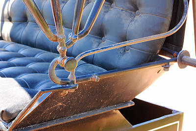Photograph - Tufted Leather Interior Of Antique Carriage by Connie Fox